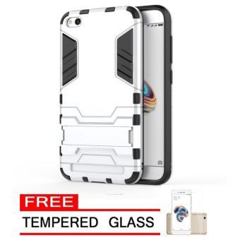 Case Hard Armor Robot Transformer Iron Man Hybrid for Xiaomi Redmi 5A - Silver FREE Tempered