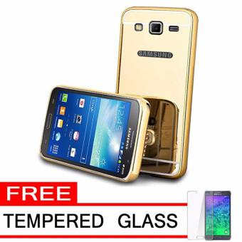 Case Metal for Samsung Galaxy J2 Prime Aluminium Bumper With Mirror Backdoor Slide - Gold +
