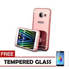 Case Metal For Samsung Galaxy J7 Prime Aluminium Bumper With Mirror Backdoor Slide - Rose Gold