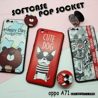 Case Oppo A37 F5 A71 Softcase Pop Socket Lentur