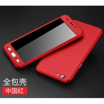 Case Protect 360 Vivo V5Lite with Premium Tempered glass Merah/Hitam