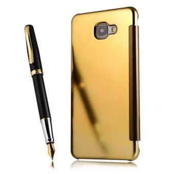Case Samsung Galaxy A5 2017 Flipcase Flip Mirror Cover S View Transparan Auto Lock Casing Hp - Gold ...