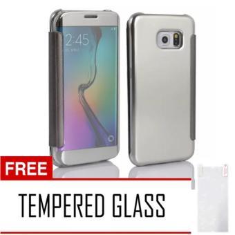 Case Samsung Galaxy S7 Edge Flipcase Flip Mirror Cover S View Transparan Auto Lock Casing Hp