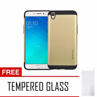 Case Slim Armor For Oppo F1 Plus R9 Series - Gold+ Tempered Glass