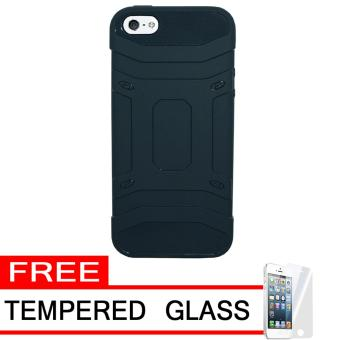 Case Tough Armor Karbon Luxury Carbon for Apple iPhone 5 - Navy Blue + Free Tempered