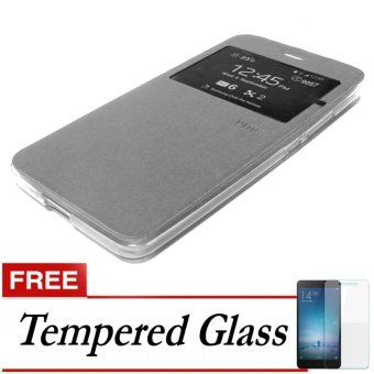 Case UME Flip Cover for Samsung Galaxy J5 Prime - Silver FREE Tempered Glass