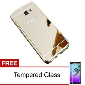 Case Untuk Samsung Galaxy A3 2016/A310 Alumunium Bumper With Mirror Backdoor Slide- Silver