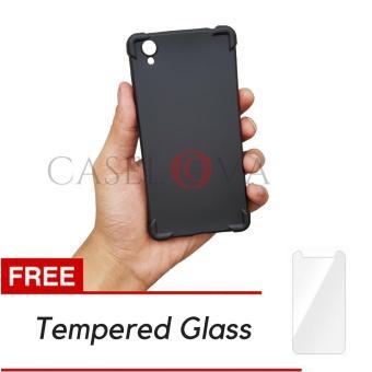Caselova Premium Anti Crack Slim Black Matte Shockproof Case for VIVO Y51 - Black + Gratis