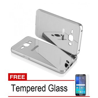 Casing Samsung Galaxy J5 2015 Bumper Mirror - Silver + Free Tempered Glass