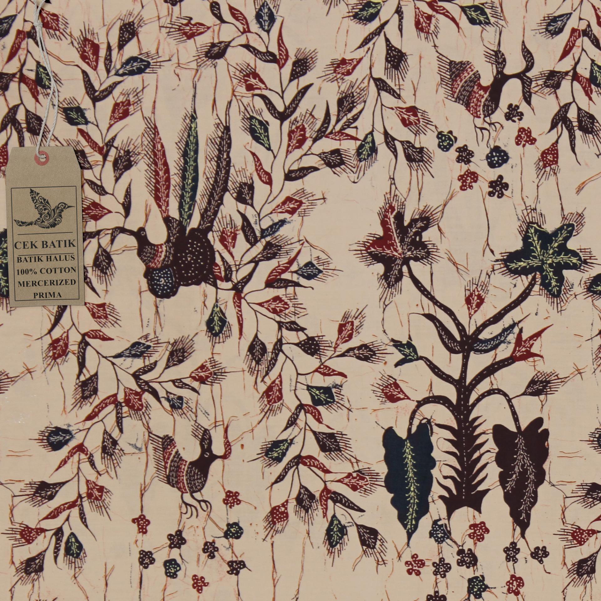 Cek Batik - Kain Batik Motif Unik Burung Sangkar Bunga Madura (Cream)