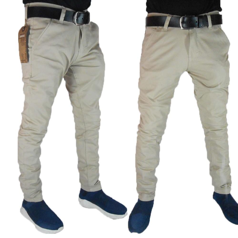 Celana Chino Pria Panjang - Skinny Fit Cotton Stretch Karet Lentur Elastis Terbaik