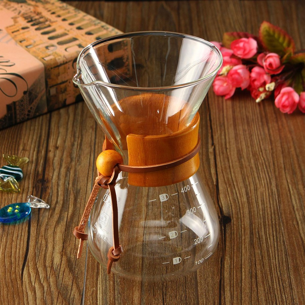 Classic Glass Coffee Maker Chemex Style Pour Over Coffeemaker 400ml/3 Cups - intl