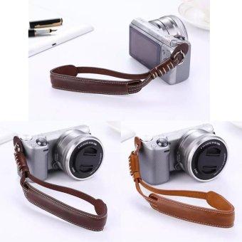 Coffee PU Leather Camera Hand Grip Wrist Strap Rope For SamsungNX3000 NX2000 NX1000 NX500 NX300 NX200