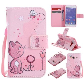 Colorful Pattern Cat bee Card Slot Wallet PU Leather Stand Flip Case Cover for Samsung Galaxy