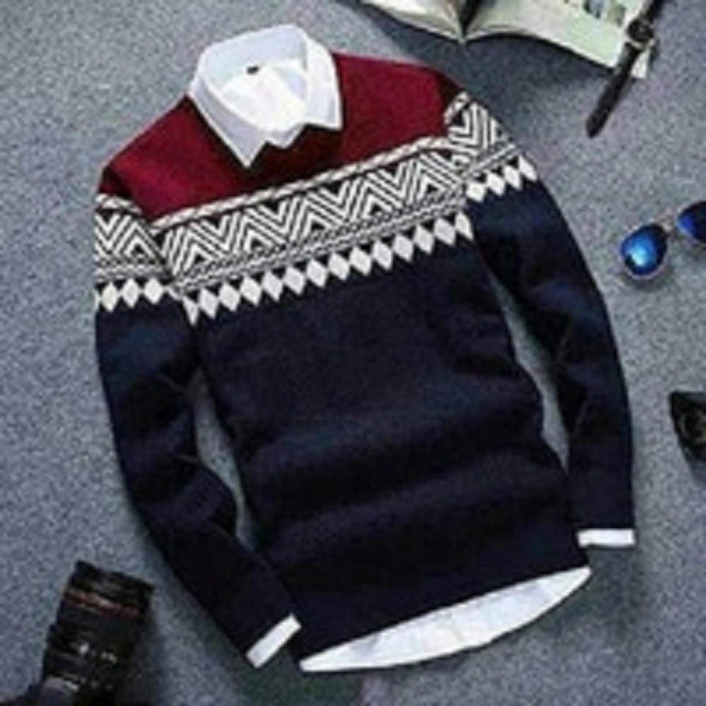 Daffa Sweater Pria rajut Colombus Tribal Navy Rajut Tribal
