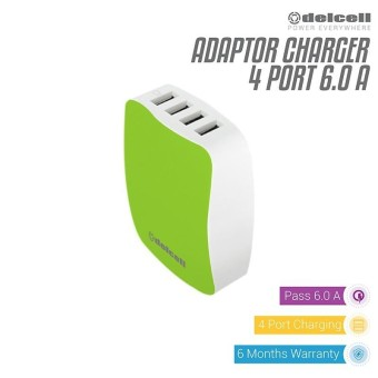 Delcell Adaptor 4 Port USB Charger Real 6 Amper - Green