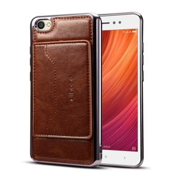 Pencari Harga Dibase Xiaomi Redmi Note 5A Electroplating TPU Tekstur Kulit Pelindung Kulit Case dengan Pemegang
