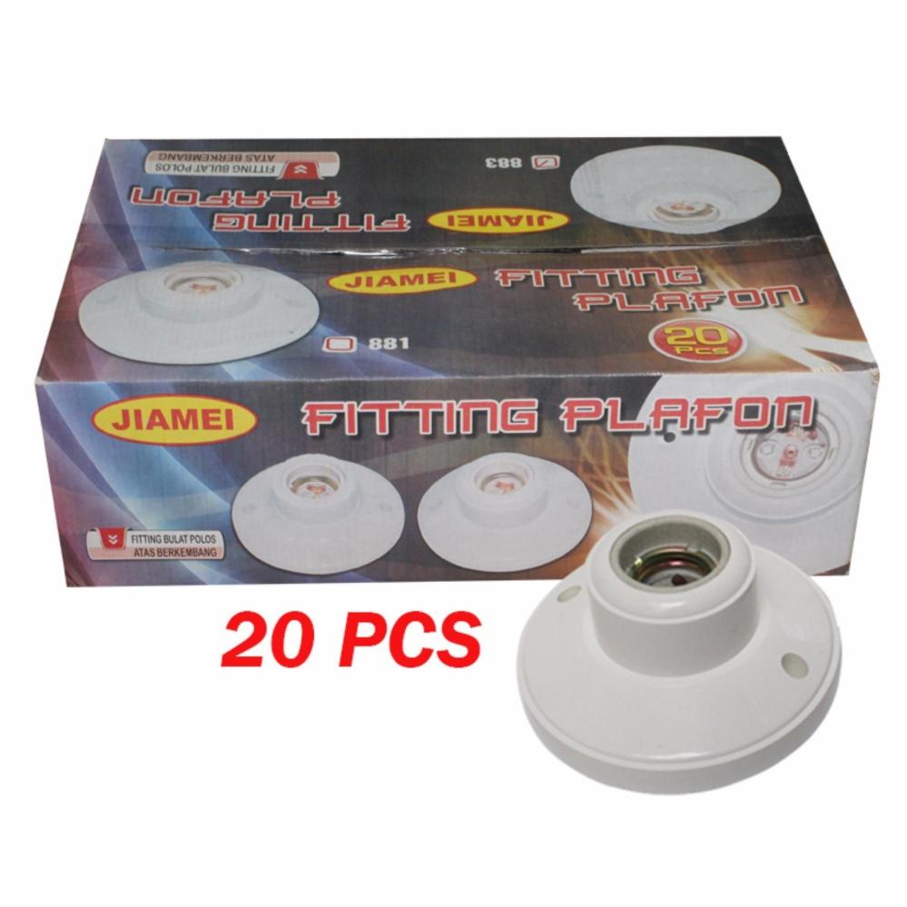 EELIC FIG-881 20 PCS Fitting Lampu Plafon Keramik Bulat Rumah Lampu Plafon Ukuran E27
