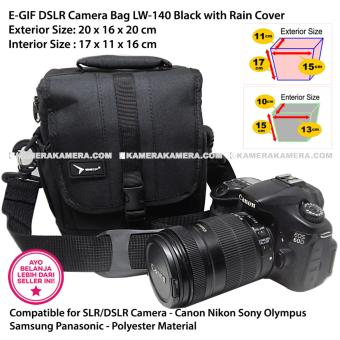 EGIF LW-140 Black DSLR Camera Bag with Rain Cover for Canon Nikon Sony Olympus