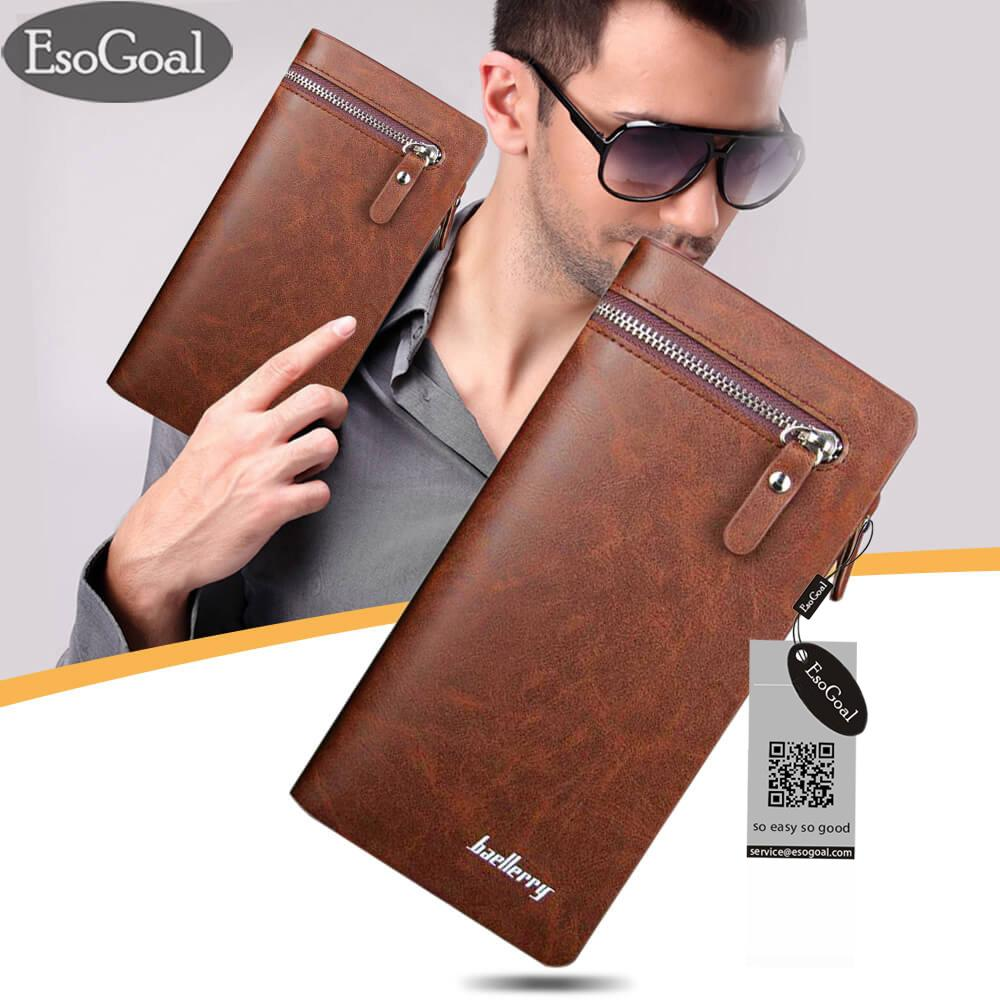 EsoGoal Pria Dompet Solid PU Leather Long Bifold Dompet Portable Arus Coin Purses Zipper Dompet Pria Clutch Bag