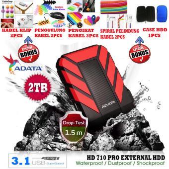 harga External Hdd 2Tb Usb 3.1 Adata HD710 Pro Bukan Yang Biasa / Antishock / Waterproof / Dustproof/ Ext HDD Adata 710 Pro / Hdd Ext - Merah + Gratis Case Hdd 1pcs + Klip Kabel 2pcs + Penggulung Kabel 2pcs + Pengikat Kabel 2pcs +  Lazada.co.id