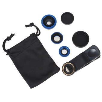 Fish Eye 3 in 1 Universal 3 Lensa Fisheye for Smartphone Wide Macro Clip Lens with Pouch
