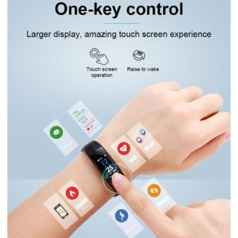 Kebugaran Pelacak IP67 Anti-Air Warna Layar Bluetooth Pintar Tali Gelang Olahraga Monitor Detak Jantung