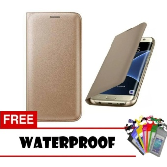 Flip Cover Leather Case For Samsung Galaxy J7 Pro 2017 - Random Color + Free Waterproof