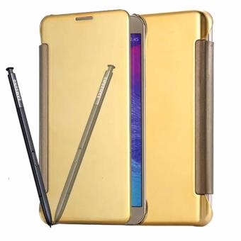 Flip Cover Mirror Wallet Clear View for Samsung Galaxy j7 Prime - Gold
