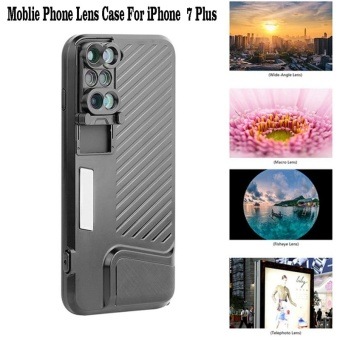 For Apple iPhone 7 Plus Phone Dual Camera Lens Fisheye Wide Angle Macro Telescope Camera Phone Lense with Protection Case - intl