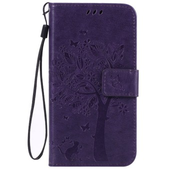 For Samsung Galaxy J3 2016 J310 Purple Emboss Flower Leather Wallet Card Slot Flip Stand Case