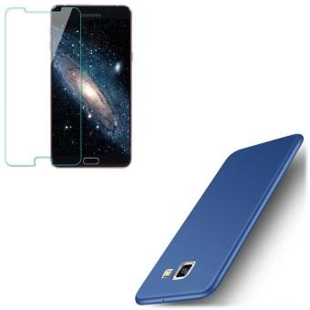 untuk Samsung Galaxy J7 Prime Ultra Slim Lembut Silicone Ponsel Case dengan HD Tempered Glass/