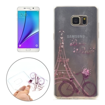 Untuk Samsung Galaxy Note 5/N920 besi Tower dan pola sepeda transparan TPU Case penutup