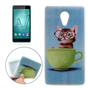 For Wiko Robby Glasses Cat Pattern TPU Soft Protective Back Cover Case - intl