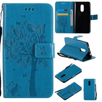 For Xiaomi Redmi Note 4/4X Blue Emboss Flower Leather Wallet Card Slot Flip Stand
