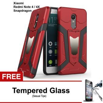 Free Tempered Glass Case Transformer Kickstand Slim Armor Hardcase for Xiaomi Redmi Note 4x Versi Snapdragon