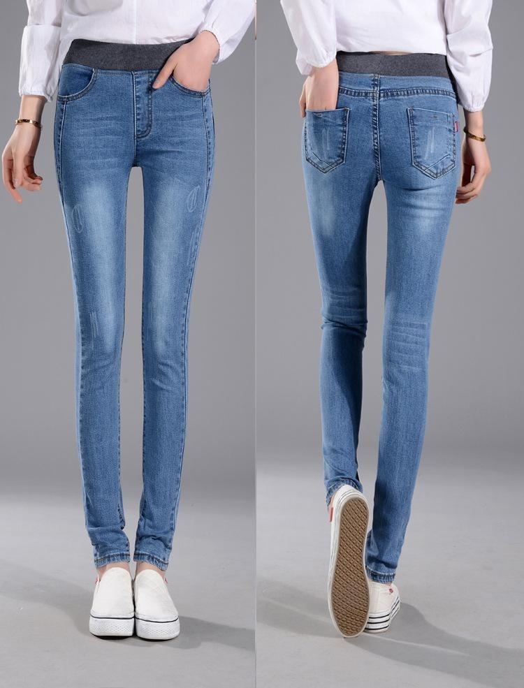 Gaya Korea Baju Busana Wanita Korea Jeans Elastis Highwaist Jeans Pinggang Tinggi Celana Panjang (Biru