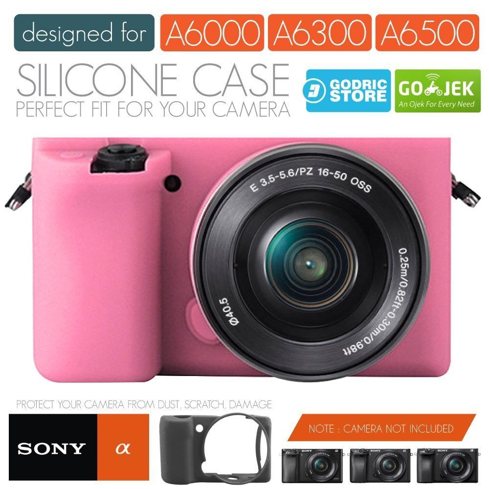 Godric Silicone Sony Alpha A6000 A6300 Silikon Case / Sarung Silicon Kamera Mirrorless - Pink Muda