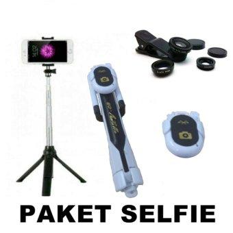 Gshop Stick Selfie Monopod And Tripod + Bluetooth Camera Shutter & Lens Clip 3in1