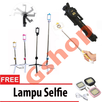 Gshop Tongsis 3 in 1 Selfie Stick Built In Bluetooth Tripod + Lampu Selfie - Black