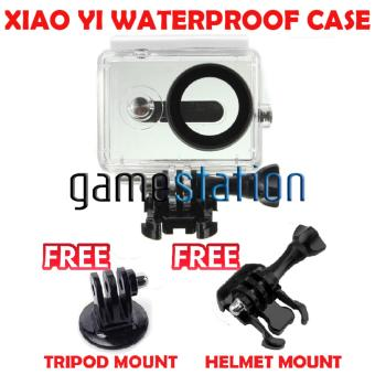 GStation WaterProof Case for Xiaomi Yi Action Camera + Tripod Mount+ Helmet Mount - White