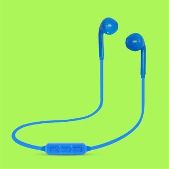 H5 Bluetooth 3.0 Headset Nirkabel Earphone Sport Menjalankan Earbud Stereo dengan Mikrofon-biru-Intl