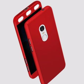 Hardcase Casing Full Body 360 Free Tempered Glass Xiaomi Redmi Note 4 Snapdragon (Merah)