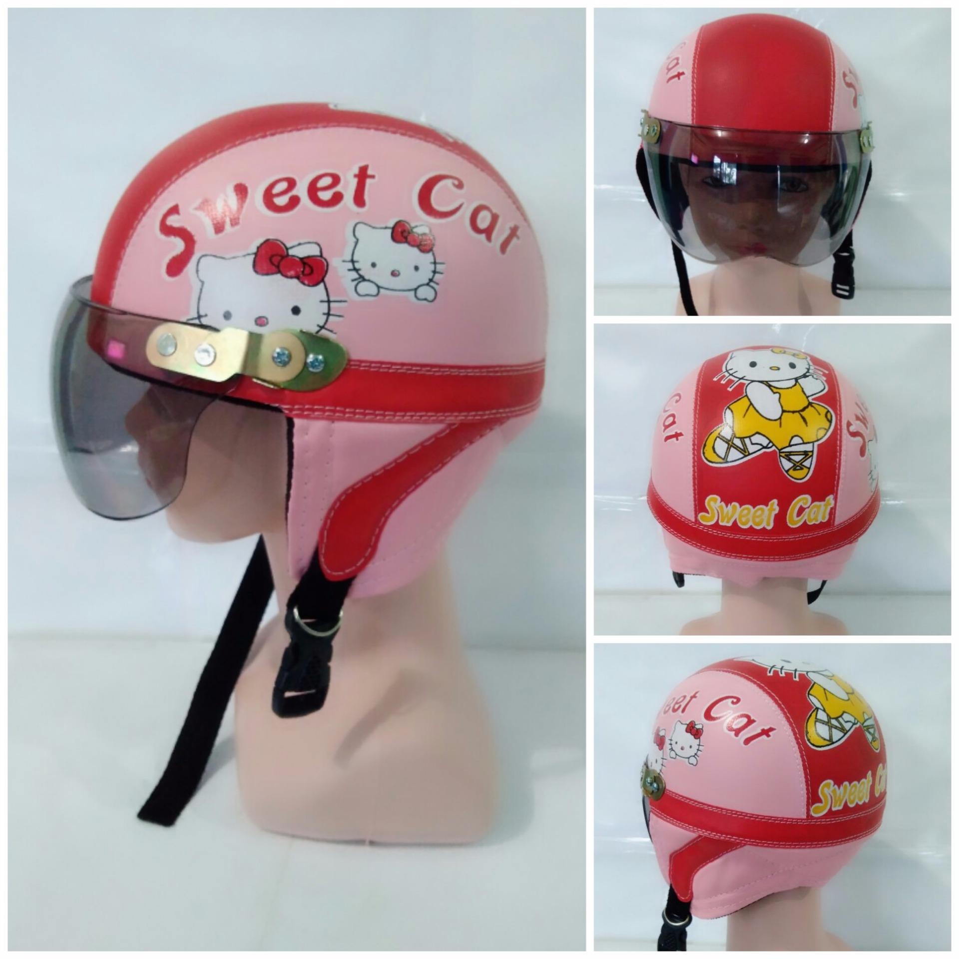 Cek Harga Baru Helm Anak Retro Standar Karakter Robot Mobil Terkini Frozen Helo Kitty 1 4 Thn Pink Merah