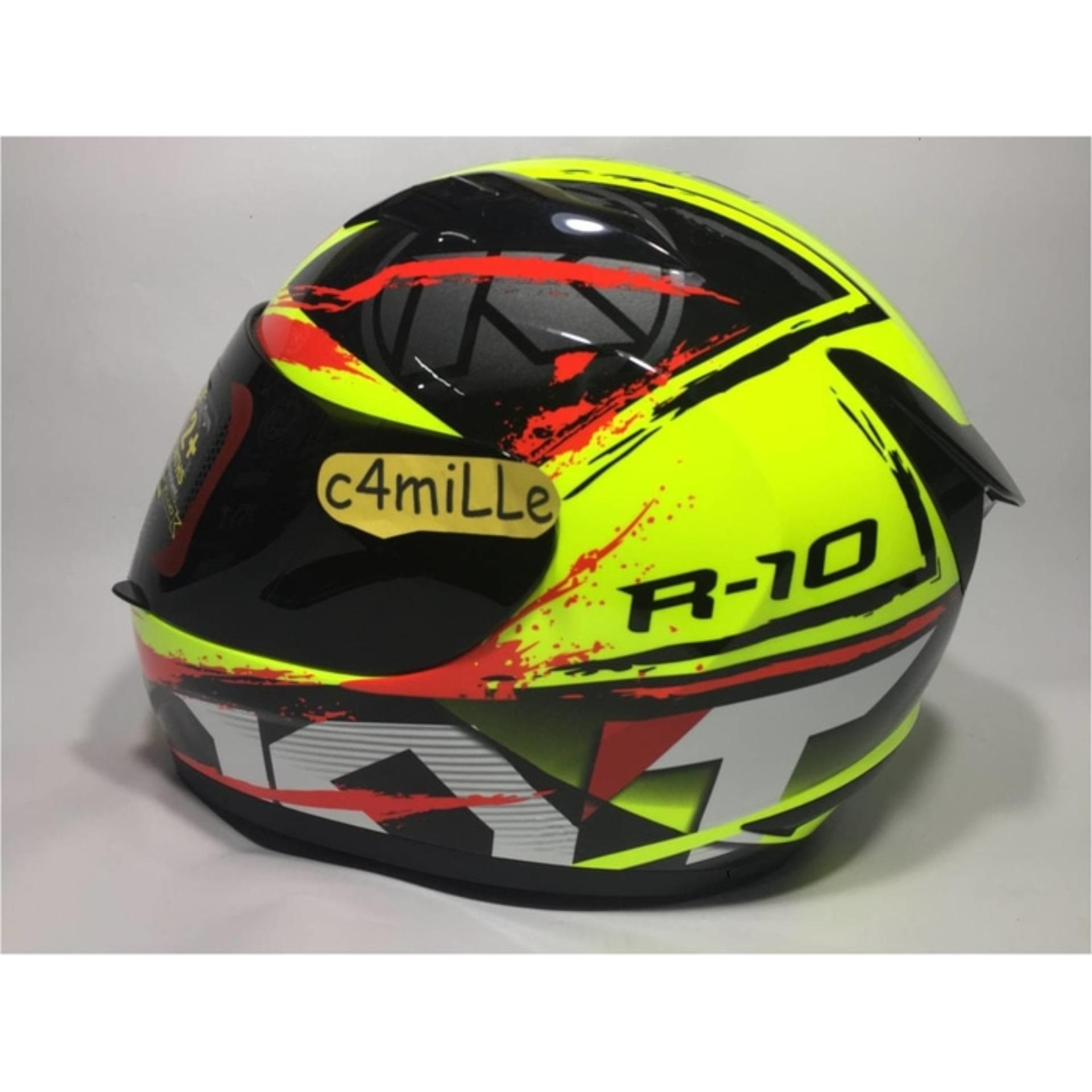 HELM KYT R10 YELLOW FLUO BLACK RED FULL FACE