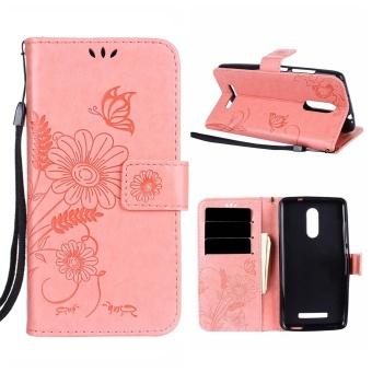 Hicase PU Leather Flip Folio Kickstand Dompet Case untuk Xiaomi Redmi Note 3-Pink-