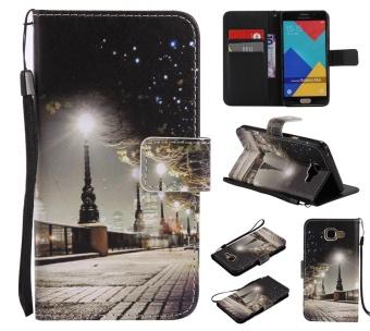 Warna-warni Berkualitas Tinggi Pola City Night View Kartu Slot Dompet PU Leather Stand Flip