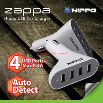 Hippo Car Charger - Charger Mobil Zappa 4 Output 8.4A Simple Pack