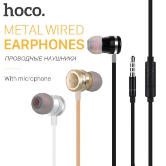 HOCO Metallic Universal Earphones with Mic Wired Headset 3.5mm Jack with Remote for Apple iPhone Samsung Xiaomi Earbuds in-Ear - Hoco Earphone Headset M16