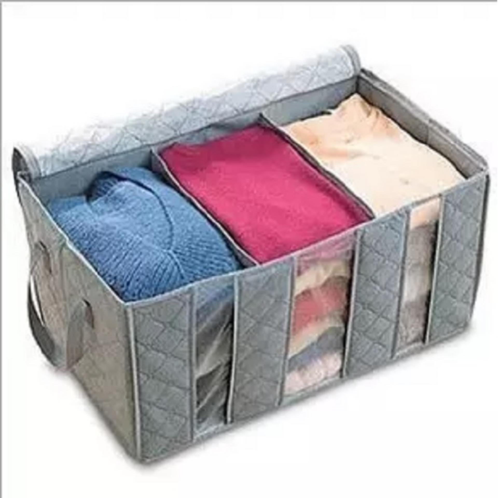 HPR002 Tempat Baju Fiber Storage Box Bamboo Charcoal Anti Bacterial -abu abu
